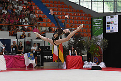 July 28, 2018 - Chieti, Abruzzo, Italy - Rhythmic gymnast Vlada Nikolchenko of Ukraine performs her ball routine during the Rhythmic Gymnastics pre World Championship Italy-Ukraine-Germany at Palatricalle on 29th of July 2018 in Chieti Italy. (Credit Image: © Franco Romano/NurPhoto via ZUMA Press)