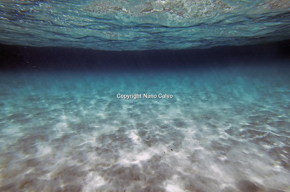 Underwater view of Cala Macarella, Menorca
