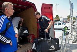 20.08.2013, Sofia, BUL, UEFA CL Play off, PFC Ludogorez Razgrad vs FC Basel, Ankunft FC Basel in Sofia, im Bild Roger Englin und Stephan Hohl mit dem Material // during departure FC Basel to the UEFA Champions League Play off Match between PFC Ludogorez Razgrad vs FC Basel in Sofia, Bulgaria on 2013/08/20. EXPA Pictures © 2013, PhotoCredit: EXPA/ Freshfocus/ Andy Mueller<br /> <br /> ***** ATTENTION - for AUT, SLO, CRO, SRB, BIH only *****