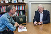 London, England, UK, November 6 2018 - Interview of Jeremy Corbyn, British politician serving as Leader of the Labour Party and Leader of the Opposition, in his office of Portcullis House with Der Spiegel  correspondent in London Jorg Schindler.