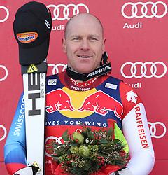 KITZBUHEL AUSTRIA. 22-01-2011. Didier Cuche (SUI) the race winner at the presentation ceremony for the 71st Hahnenkamm downhill race part of  Audi FIS World Cup races in Kitzbuhel Austria.  Mandatory credit: Mitchell Gunn