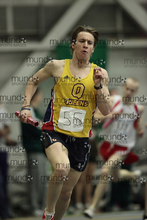 (Windsor, Ontario---12 March 2010) Matt Hulse of Queen's University Golden Gaels   competes in the 4x800m final at the 2010 Canadian Interuniversity Sport Track and Field Championships at the St. Denis Center. Photograph copyright Geoff Robins/Mundo Sport Images. www.mundosportimages.com