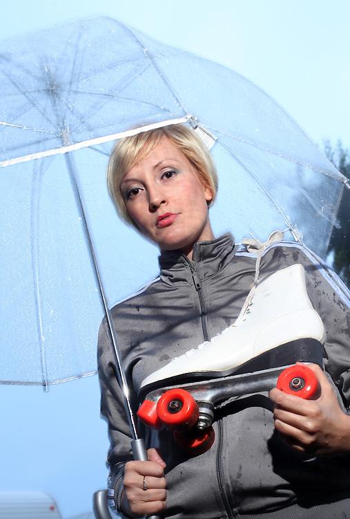 Amanda Hicks aka SLAM manda Kicks. Cornfed Derby Dames.       .(Chris Bergin/The Star Press)