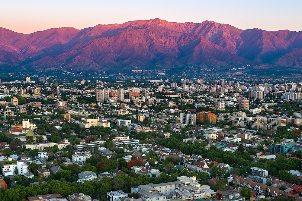Panoramic view of Providencia district with Los Andes Mountain Range, Santiago de Chile <br /> <br /> For LICENSING and DOWNLOADING this image follow this link: http://www.masterfile.com/em/search/?keyword=700-07802967&amp;affiliate_id=01242CH84GH28J12OOY4<br /> <br /> For BUYING A PRINT of this image press the ADD TO CART button.<br /> <br /> Download of this image is not available at this site, please follow the link above.