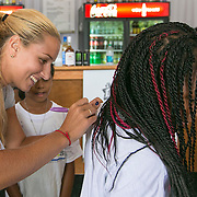 August 15, 2014, New Haven, CT:<br /> Dominika Cibulkova signs autographs for kids from the New HYTEs youth development organization during the draw ceremony at the 2014 Connecticut Open at the Yale University Tennis Center in New Haven, Connecticut Friday, August 15, 2014.<br /> (Photo by Billie Weiss/Connecticut Open)