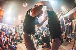 Tommy Blom demonstrates a punch. IKMS 'In The Club' seminar with KMG Global Team Instructor and Expert Level 5, Tommy Blom, at the Buff Club in Glasgow's City Centre. Bringing Krav Maga training out with the confines of the gym into a real nightclub/bar.<br /> © Michael Schofield.