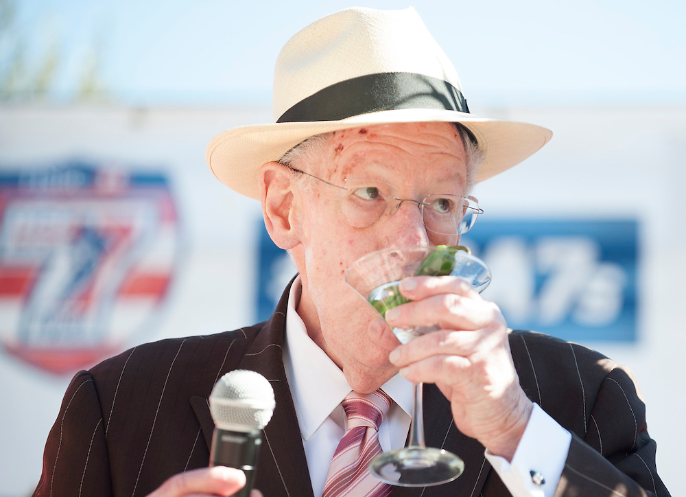 Oscar Goodman toasts the United States rugby teams at the United States Pep Rally outside the Monte Carlo Hotel at the USA Sevens, Round Five of the World Rugby HSBC Sevens Series in Las Vegas, Nevada, March 1, 2017. <br />