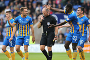 Aristote Nsiala and Alex Rodman protest about a second penalty decision during the EFL Sky Bet League 1 match between Shrewsbury Town and Rochdale at Greenhous Meadow, Shrewsbury, England on 19 August 2017. Photo by Daniel Youngs.