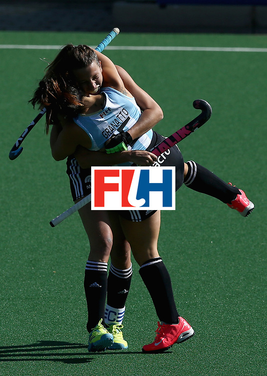 JOHANNESBURG, SOUTH AFRICA - JULY 18: Delfina Merino of Argentina celebrates scoring her sides a goal with her team mate during the Quarter Final match between Argentina and Ireland during the FIH Hockey World League - Women's Semi Finals on July 18, 2017 in Johannesburg, South Africa.  (Photo by Jan Kruger/Getty Images for FIH)