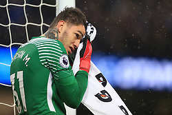 21st October 2017 - Premier League - Manchester City v Burnley - Man City goalkeeper Ederson dries his face with a towel - Photo: Simon Stacpoole / Offside.