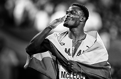 London, 2017 August 07. Men's 110m hurdles World Champion Omar McLeod, Jamaica, celebrates his victory on day four of the IAAF London 2017 world Championships at the London Stadium. © Paul Davey.