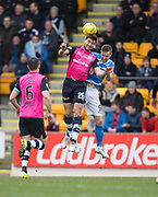 Dundee&rsquo;s Kostadin Gadzhalov heads clear from St Johnstone&rsquo;s Steven MacLean - St Johnstone v Dundee in the Ladbrokes Scottish Premiership at McDiarmid Park, Perth: Picture &copy; David Young<br /> <br />  - &copy; David Young - www.davidyoungphoto.co.uk - email: davidyoungphoto@gmail.com
