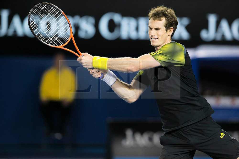 © Licensed to London News Pictures. 25/01/2013. Melbourne Park, Australia. Andy Murray during the Mens Semi Final between Andy Murray Vs Roger Federer of the Australian Open. Photo credit : Asanka Brendon Ratnayake/LNP