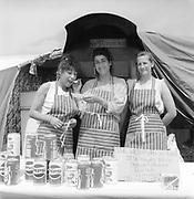 The Victorian Kitchen stallholders, Glastonbury, 1989.