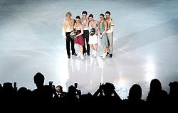 27.03.2010, Torino Palavela, Turin, ITA, ISU World Figure Skating Championships Turin 2010, Ice dance free dance, im Bild Tessa Virtue and Scott Moir (CAN gold medal, Meryl Davis and Charlie White (USA) silver medal, Federica Faiella and Massimo Scali (ITA) bronze medal. EXPA Pictures © 2010, PhotoCredit: EXPA/ InsideFoto/ Perottino / SPORTIDA PHOTO AGENCY