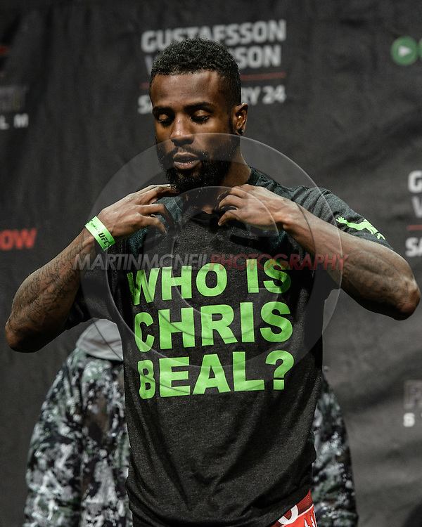 """STOCKHOLM, SWEDEN, JANUARY 23, 2015: Chris Beal steps on stage during the official weigh in for """"UFC on Fox 14: Gustafsson vs. Johnson"""" inside Hovet Arena in Stockholm, Sweden"""