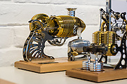 DUBAI, UAE - APRIL 30, 2016: Böhm Stirling Engines are displayed at the MB&F M.A.D. (Mechanical Art Devices) Gallery located in Alserkal Avenue in Dubai' Al Quoz Industrial Area.
