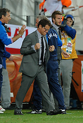 23.06.2010, Nelson Mandela Bay Stadium, Port Elizabeth, RSA, FIFA WM 2010, Slovenia (SLO) and England (ENG), im Bild Fabio Capello manager / head coach of England reacts & celebrates  as his side go through to the next round. EXPA Pictures © 2010, PhotoCredit: EXPA/ IPS/ Marc Atkins / SPORTIDA PHOTO AGENCY