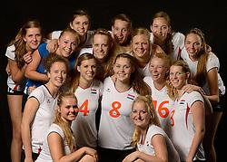 28-06-2013 VOLLEYBAL: NEDERLANDS MEISJES VOLLEYBALTEAM: ARNHEM <br /> Selectie Jeugd Oranje meisjes seizoen 2013-2014 / <br /> ©2013-FotoHoogendoorn.nl