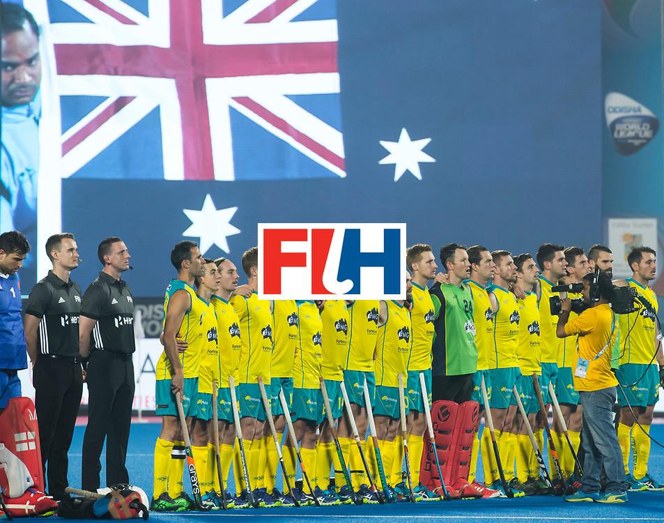BHUBANESWAR - The Odisha Men's Hockey World League Final . Match ID 09 .  Australia v England  . Line up Australia.    WORLDSPORTPICS COPYRIGHT  KOEN SUYK
