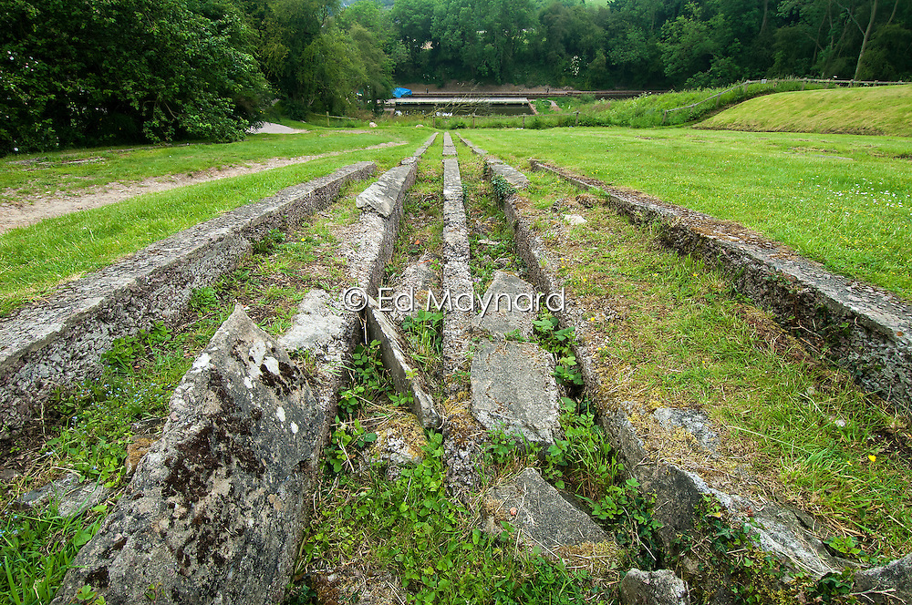 The remains of one of the Inclined Plane tracks at Foxton Locks on the Grand Union Canal, Leicestershire, England, UK.