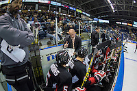 KELOWNA, CANADA - SEPTEMBER 5:  Michael Hengen, Assistant Coach of the Prince George Cougars stands on the bench and discusses a play with players at the Kelowna Rocketson September 5, 2015 during the first pre-season game at Prospera Place in Kelowna, British Columbia, Canada.  (Photo by Marissa Baecker/Shoot the Breeze)  *** Local Caption *** Michael Hengen;
