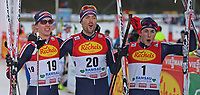 Kombinert<br /> FIS World Cup<br /> Foto: Gepa/Digitalsport<br /> NORWAY ONLY<br /> <br /> RAMSAU AM DACHSTEIN,AUSTRIA,19.DEC.15 - NORDIC SKIING, NORDIC COMBINED, CROSS COUNTRY SKIING - FIS World Cup, 10km Gundersen, men. Image shows Magnus Krog, Magnus Moan and Jarl Magnus Riiber (NOR).