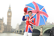 Fashionable British man in Union Jack jacket and tie with Big Ben