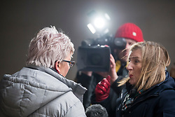 © Licensed to London News Pictures. 08/01/2018. London, UK. Former China editor for the BBC, CARRIE GRACIE (left)  seen talking to media as she leaves BBC broadcasting House in London. CARRIE GRACIE resigned form her post as China editor and wrote an open letter to licence fee payers   in protest over unequal pay between men and women at the broadcasting corporation. Photo credit: Ben Cawthra/LNP