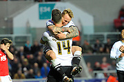 Derby County forward Johnny Russell celebrates scoring opening goal to give the visitors a 1-0 lead during the Sky Bet Championship match between Bristol City and Derby County at Ashton Gate, Bristol, England on 19 April 2016. Photo by Graham Hunt.