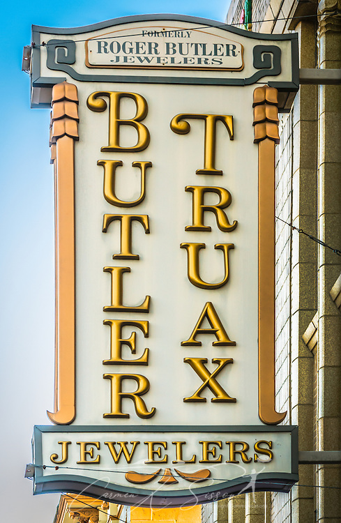 The sun sets on Butler Truax Jewelers, Feb. 14, 2015, in Selma, Alabama. The jewelry store, located on Broad Street near the Edmund Pettus Bridge, was established in 1845 and has had numerous owners. Its current owners took over in 2002. (Photo by Carmen K. Sisson/Cloudybright)