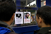 Posters of missing people on a fence at the Kings Crossing subway station on Friday July 8, 2005 in London, England. One day earlier on Juli 7 London was struck by three bombings on subway trains and one on a bus.