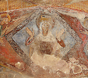 Detail of Virgin Mary in Majesty shown within a diamond and surrounded by two angels, 12th century frescoes of the vaulted ceiling of the apse of the Pre-Romanesque Chapel of Saint Martin de Fenollar (Sant Marti de Fenollar), 9th century, Maureillas Les Illas, Pyrenees Orientales, France. The frescoes are an outstanding piece of work, which greatly impressed modern artists, especially Pablo Picasso and Georges Braque in 1910. Picture by Manuel Cohen