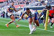 Ken Maumalo scores. Parramatta Eels v Vodafone Warriors. NRL Rugby League. Bankwest Stadium, Sydney, Australia. 27th July 2019. Copyright Photo: David Neilson / www.photosport.nz