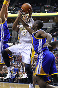 Feb. 28, 2012; Indianapolis, IN, USA; Indiana Pacers small forward Danny Granger (33) shoots the ball as Golden State Warriors guard Charles Jenkins (22) defends at Bankers Life Fieldhouse. Indiana defeated Golden State 102-78. Mandatory credit: Michael Hickey-US PRESSWIRE