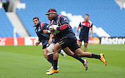 Samu Manoa at full pace during the USA Captain's Run in preparation for the Rugby World Cup at the American Express Community Stadium, Brighton and Hove, England on 18 September 2015.