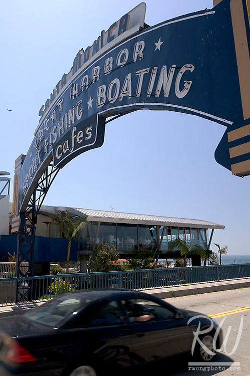 Car Driving onto Santa Monica Pier, Santa Monica, California