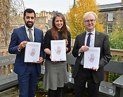 Justice Secretary Humza Yousaf, Communities Secretary Aileen Campbell and Lord Advocate James Wolffe QC launch the consultation in Edinburgh.<br /> <br /> &copy; Dave Johnston / EEm