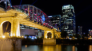 Apr 25, 2019; Nashville, TN, USA; General overall view of the John Seigenthaler Pedestrian Bridge, formerly the Shelby Street Pedestrian Bridge, with the 2019 NFL Draft logo overlooking the downtown Nashville skyline and Cumberland River. (Brian Villanueva/Image of Sport)