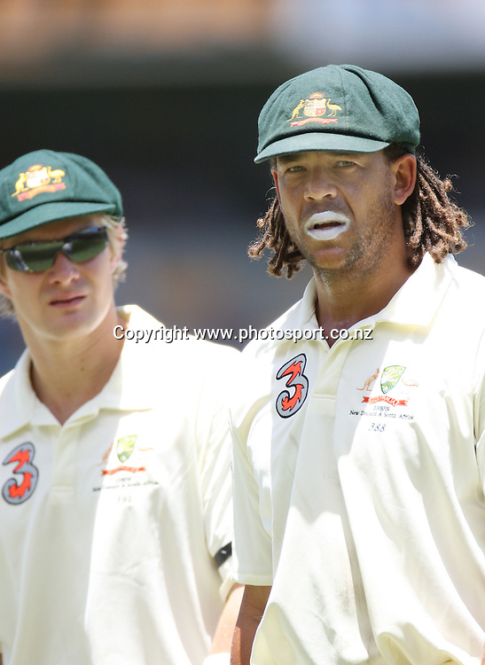 Shane Watson and Andrew Symonds during day 2 of the first test match between Australia and New Zealand at the Gabba. Brisbane, Australia. Friday 21 November 2008. Pic: Andrew Cornaga/PHOTOSPORT
