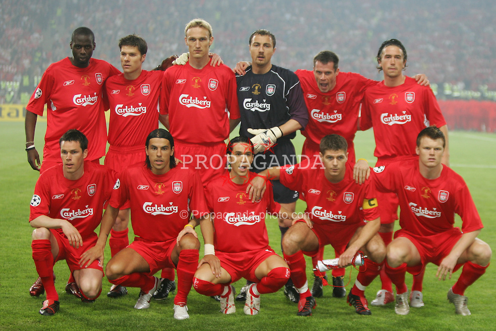 ISTANBUL, TURKEY - WEDNESDAY, MAY 25th, 2005: Liverpool's team lines up before the the UEFA Champions League Final against AC Milan at the Ataturk Olympic Stadium, Istanbul. (Pic by David Rawcliffe/Propaganda)..Back row L-R: Djimi Traore, Xabi Alonso, Sami Hyypia, Jerzy Dudek, Jamie Carragher, Harry Kewell. Front row L-R: Steve Finnan, Milan Baros, Luis Garcia, Steven Gerrard, John Arne Riise.