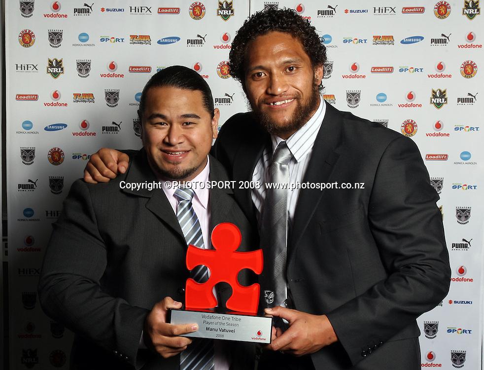 Manu Vatuvei. Vodafone Warrior's annual awards, Sky City Convention Centre, Auckland. 16 September 2008. Photo: Andrew Cornaga/PHOTOSPORT