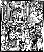 16th Century German woodcut depicting musical instruments being played. Instruments included are the organ and flute. A chorus sings alongside