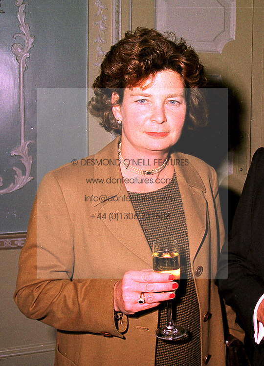 BARONESS SWEERTS DE LANDAS at a party in London 19th October 1998.<br /> MKX 4 WO