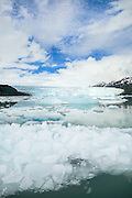Vertical shot of Chenega Glacier with Blue Sky