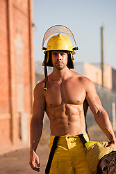shirtless hot muscular fireman outdoors