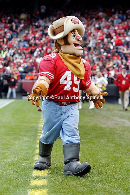 The San Francisco 49ers mascot cheers during the NFL week 17 football game against the Arizona Cardinals on Sunday, January 2, 2011 in San Francisco, California. The 49ers won the game 38-7. (©Paul Anthony Spinelli)