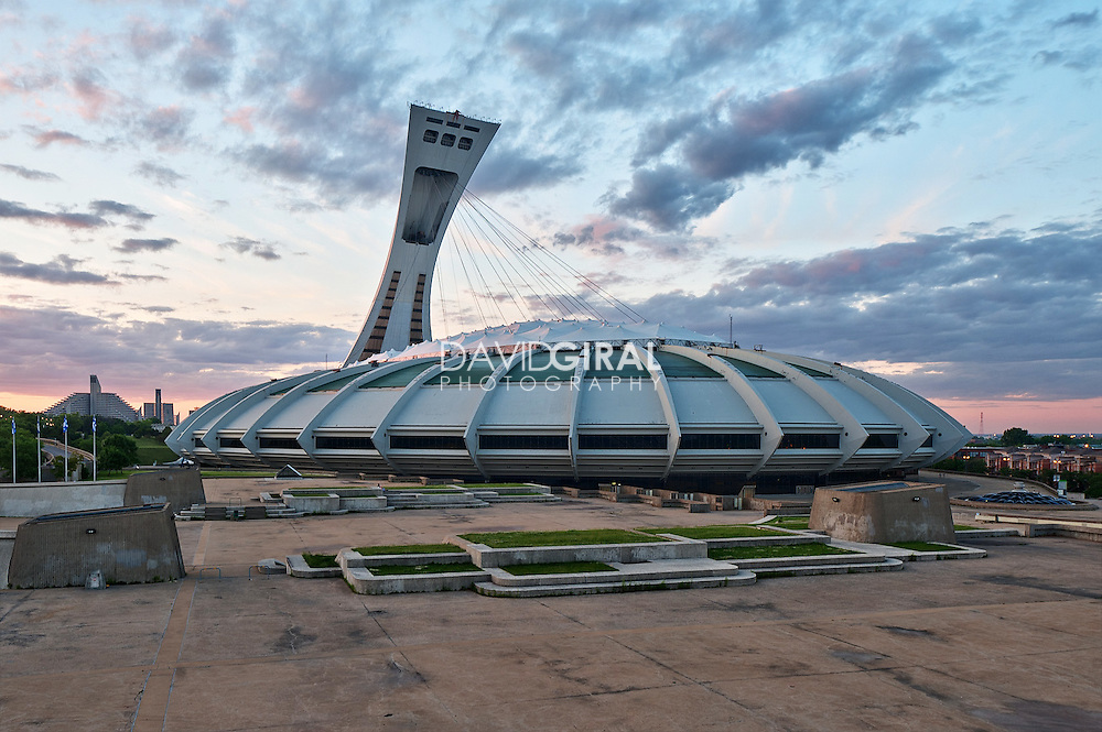Architecture Photography Montreal Olympic Stadium At Sunset