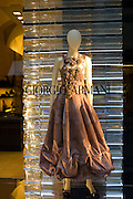 Shop window display of Italian designer Giorgio Armani fashion shop in Via de Tornabuoni in Florence,Tuscany, Italy