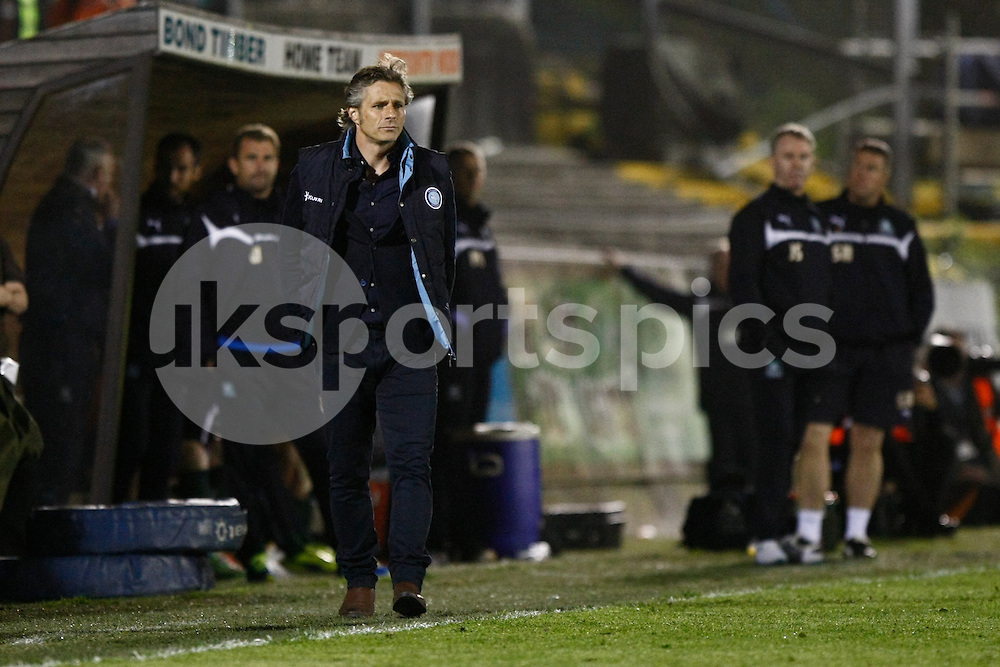Wycombe Wanderers manager Gareth Ainsworth and his opposite number John Sheridan in the background during the Sky Bet League 2 Play Off 1st Leg match between Plymouth Argyle and Wycombe Wanderers at Home Park, Plymouth, England on 9 May 2015. Photo by Mark Hawkins.